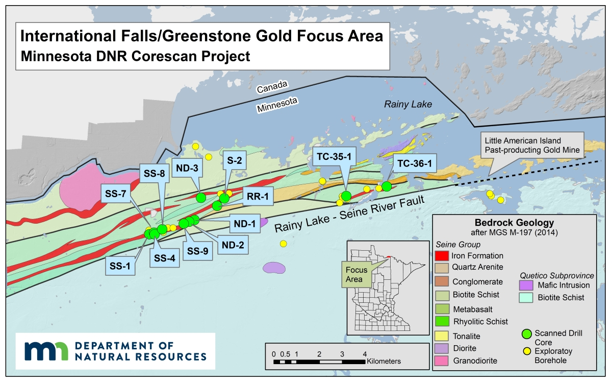 The International Falls focus area along the border with Canada has long been a target for gold exploration.