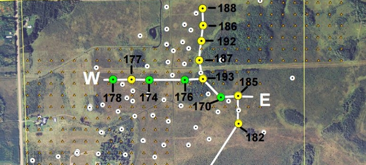 Air photo map showing SGH sample locations for DNR Project 394