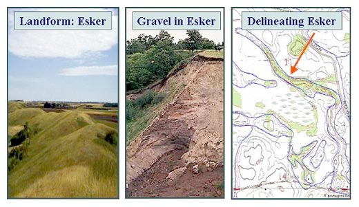 The geologic landform called an esker shown on a map and in a gravel deposit