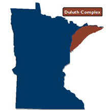 Locator map showing Duluth Complex geologic terrane in northeast minnesota