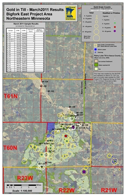 project location map for Regional Survey of Gold in Till, Archean Greenstone Belt, Northeastern Itasca County