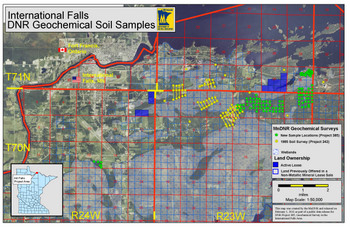 project location map for Geochemical Survey on Public Lands in the International Falls Area, Koochiching County, Minnesota
