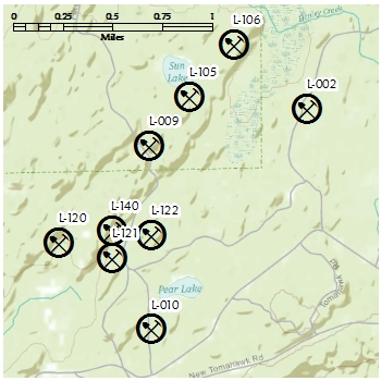 Example of dimension stone sites on map - larger scale
