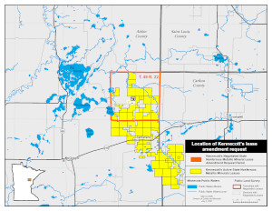 Location of Kennecott Exploration Co's lease request in Aitkin County