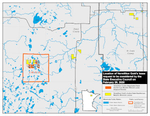 Location of Vermillion Gold's lease request in Itasca County