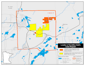 Location of Vermillion Gold's lease request in St. Louis County