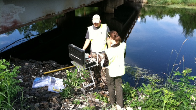 Two DNR staff collecting and analyzing stream water samples from the banks of a stream