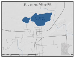 Location map of Saint James mine pit