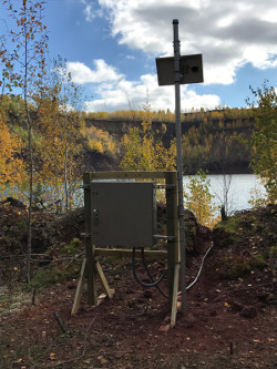 Photo of monitoring equipment installed at pit lake