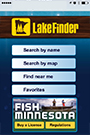 Screenshot of moble LakeFinder application for smart devices
