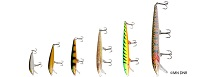 photo of several fishing lures called crankbaits in different colors and patterns that mimic bait fish