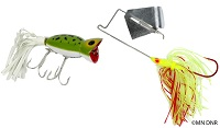 photo of two common surface lures for bass fishing – hula popper and buzzbait