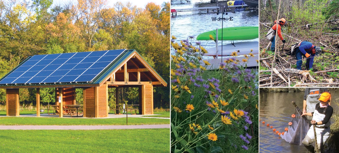 collage of dnr projects that represent adapting or mitigating climate change