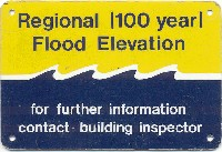 100 yr flood elevation sign
