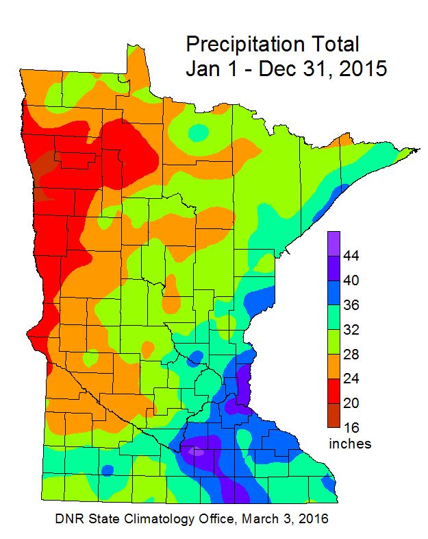 Annual Precipitation Maps - Minnesota DNR - MN Department of Natural ...