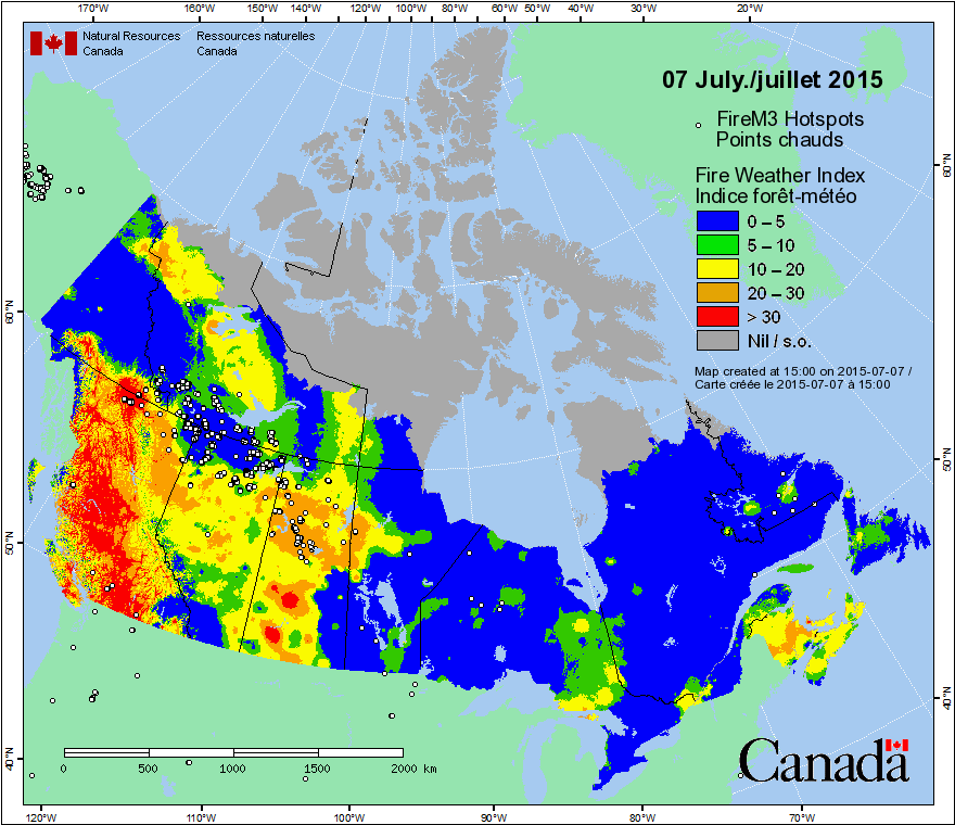 Canadian fire hotspots and fire weather index, July 7, 2015