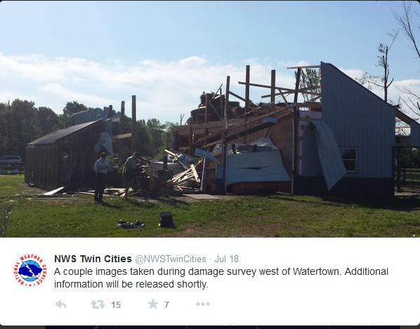 Picture of tornado damage near Watertown, MN