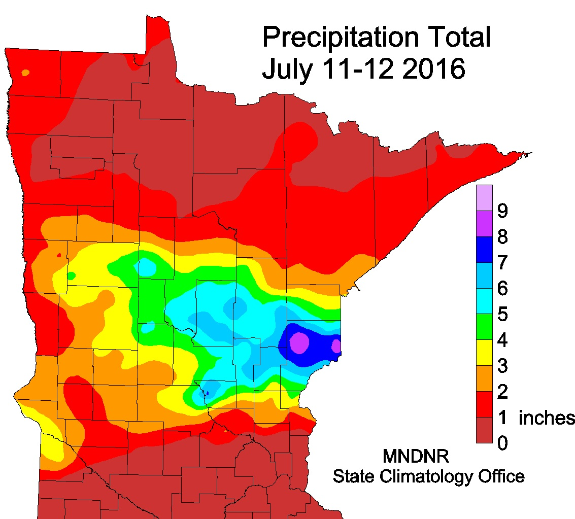 Precipitation Map from the July 11-12, 2016 Rain Event