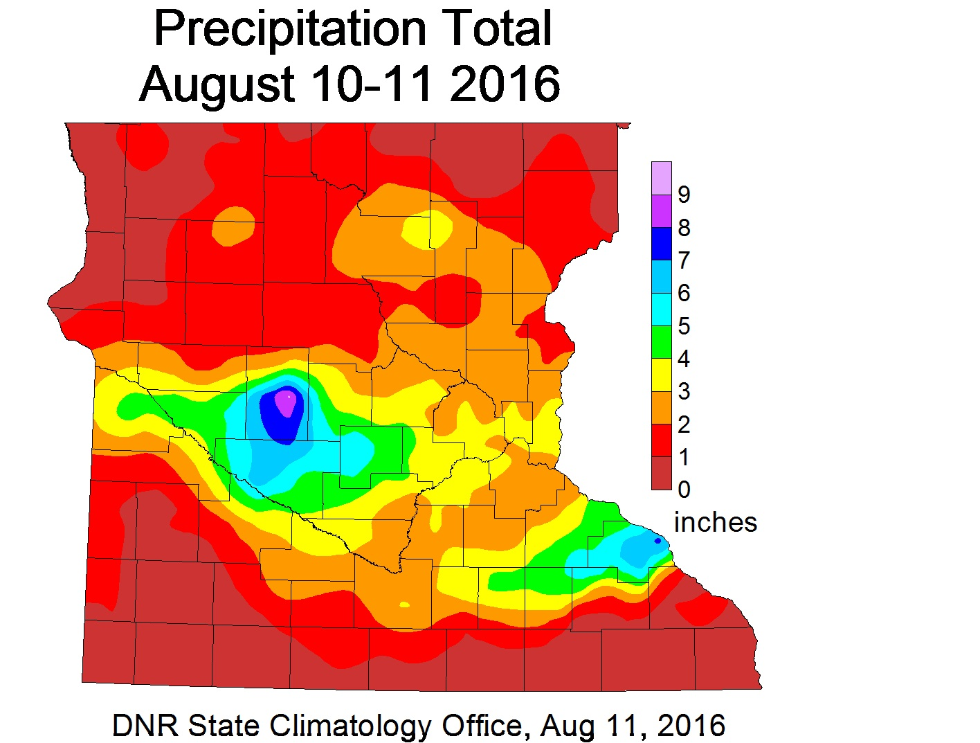 Precipitation Map from August 10-11, 2016