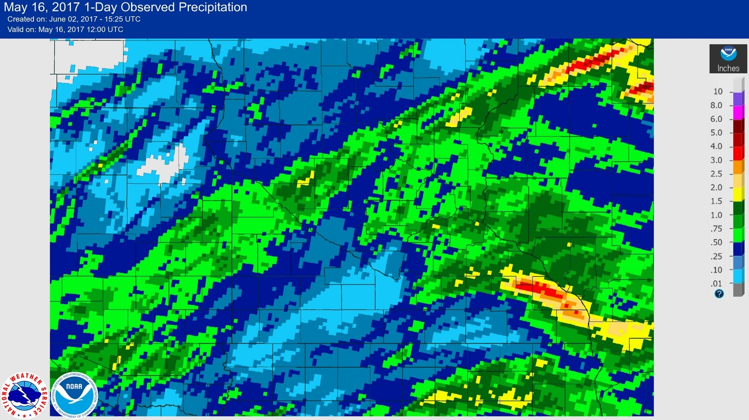 Rainfall for the 24 hour period ending at 7am on May 16, 2017