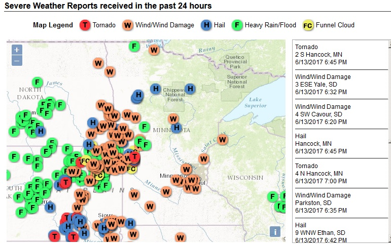 Map Showing Locations of Storm Reports