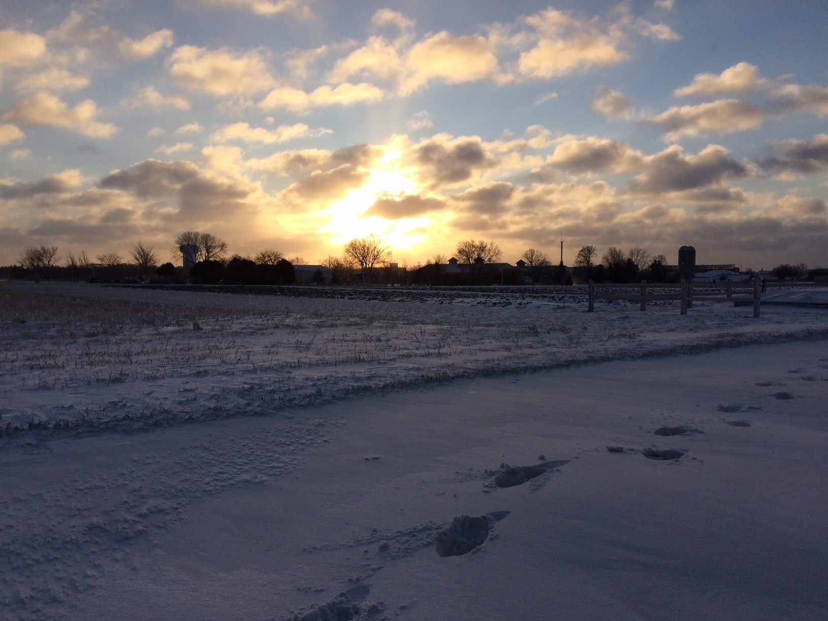Sunrise over a snow-covered landscape in St. Paul on December 5, 2017