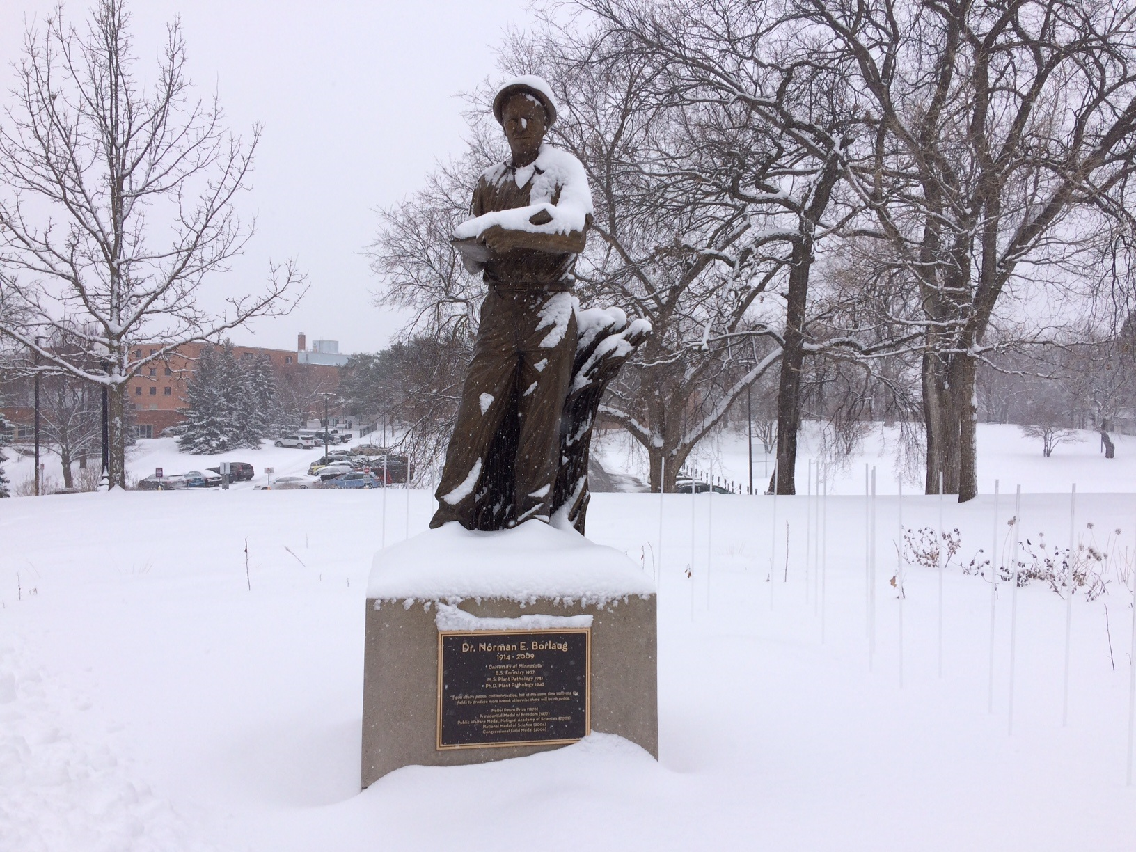 Snowfall on April 2, 2018 at the U of M St. Paul Campus