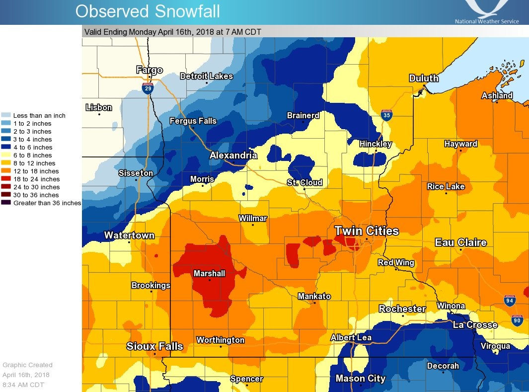 Map of Snowfall: April 13-16, 2018
