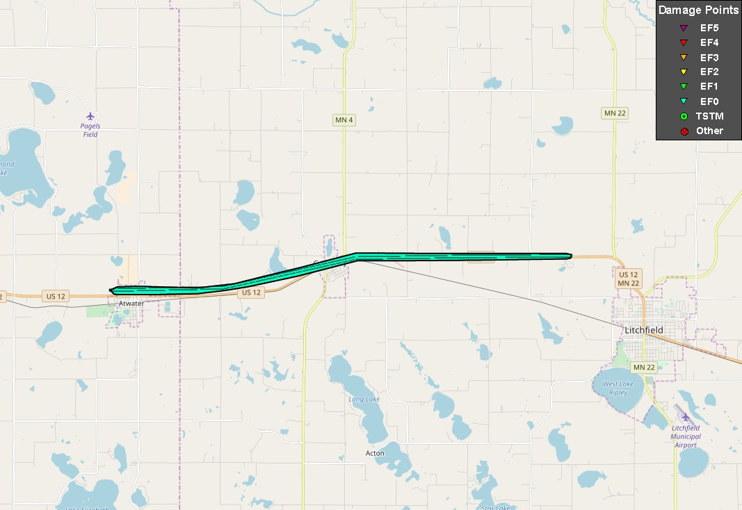 Path of Tornado on August 3, 2018