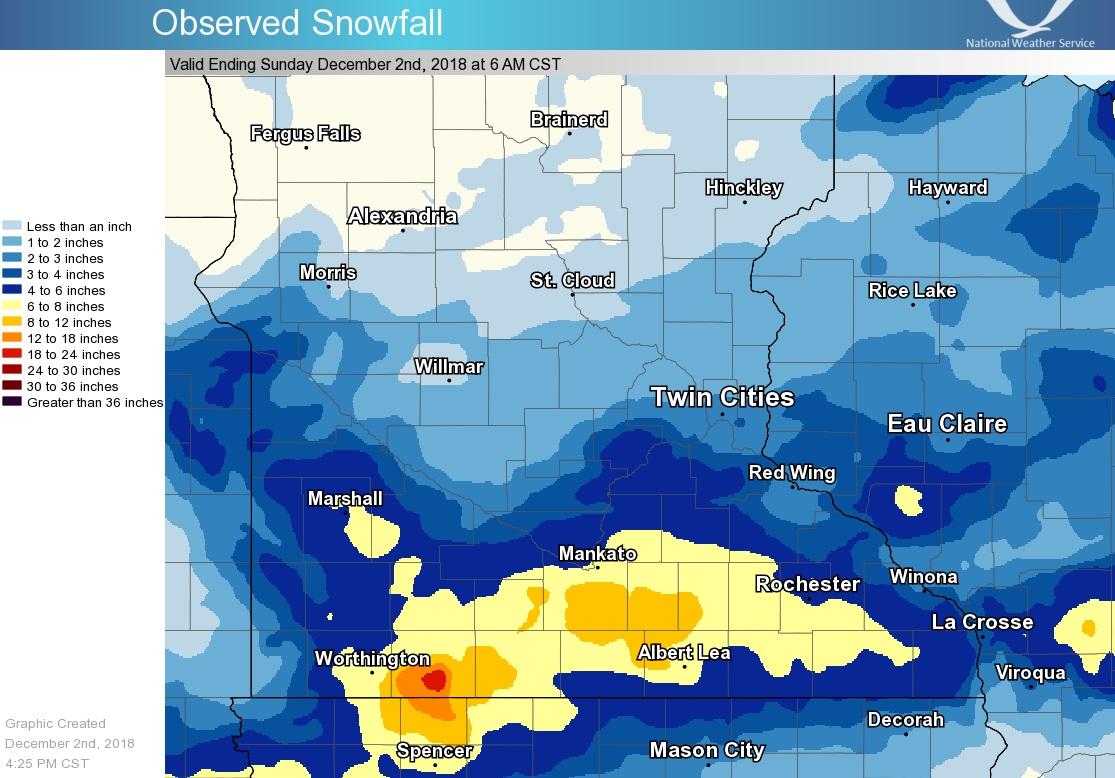 Snowfall Total Map: December 1-2, 2018