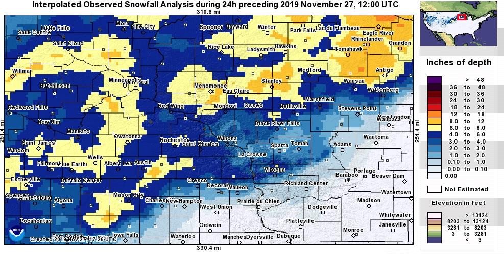 Snowfall November 26-27, 2019