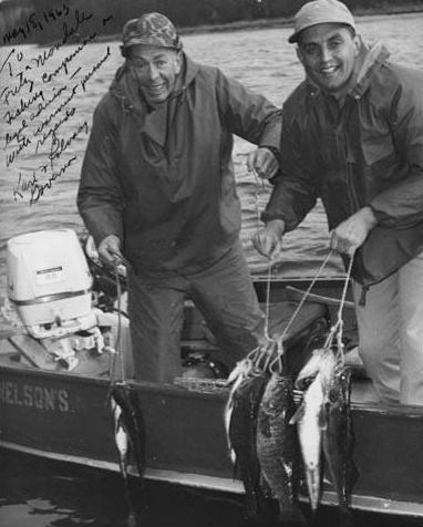 Minnesota State Attorney General Walter Mondale and Minnesota Governor Karl Rolvaag display their catch on opening day of the 1963 Minnesota fishing season.