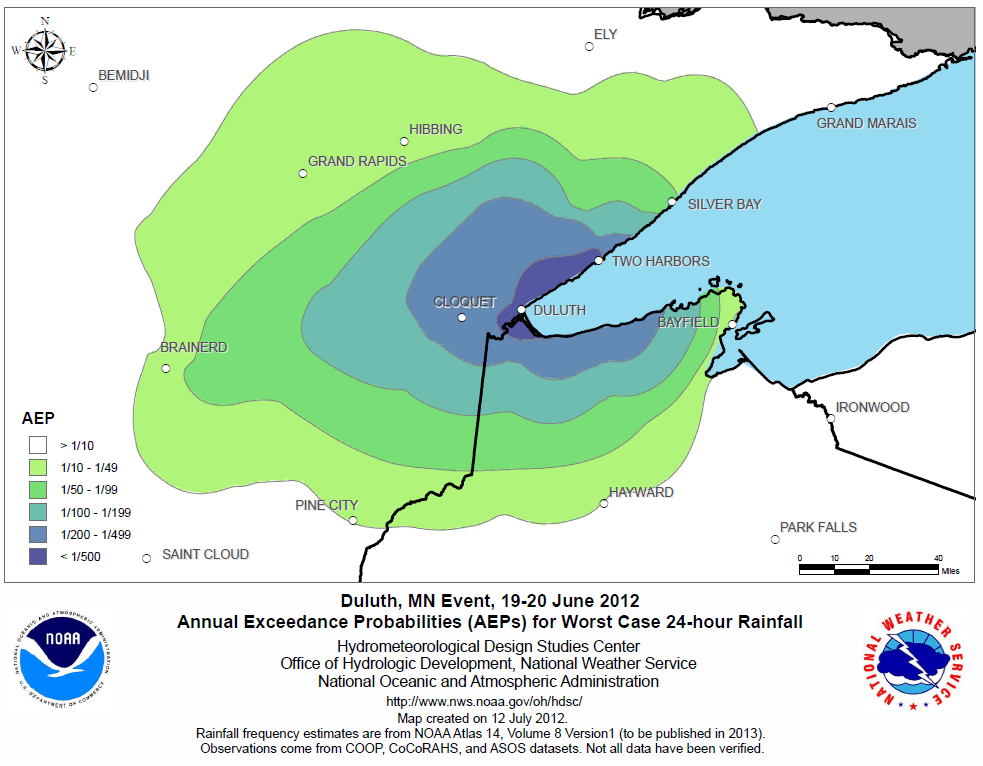 Estimated recurrence interval for June 19-20, 2012 rainfall