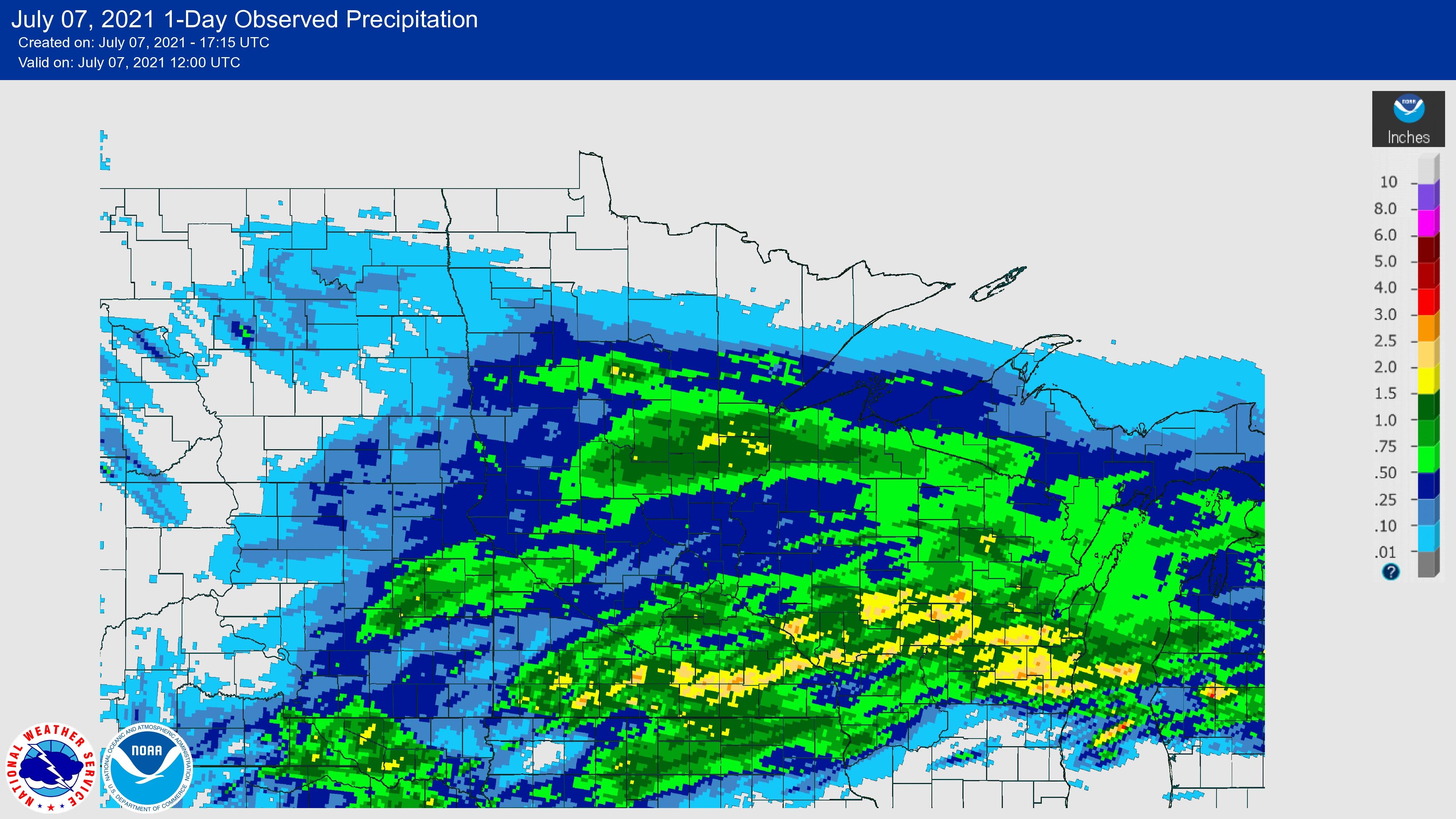 24 hour rainfall ending 7am July 7, 2021