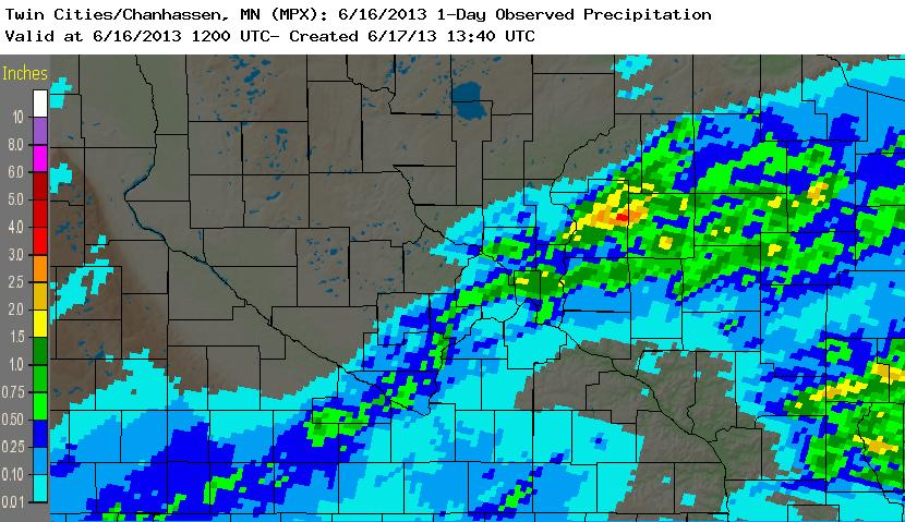 Radar-based precipitation estimates for a 24 hour period, ending June 16th, 2013
