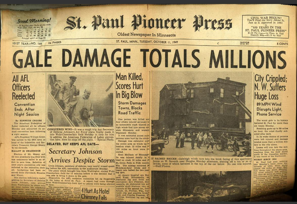 Front Page of the October 11, 1949 Pioneer Press