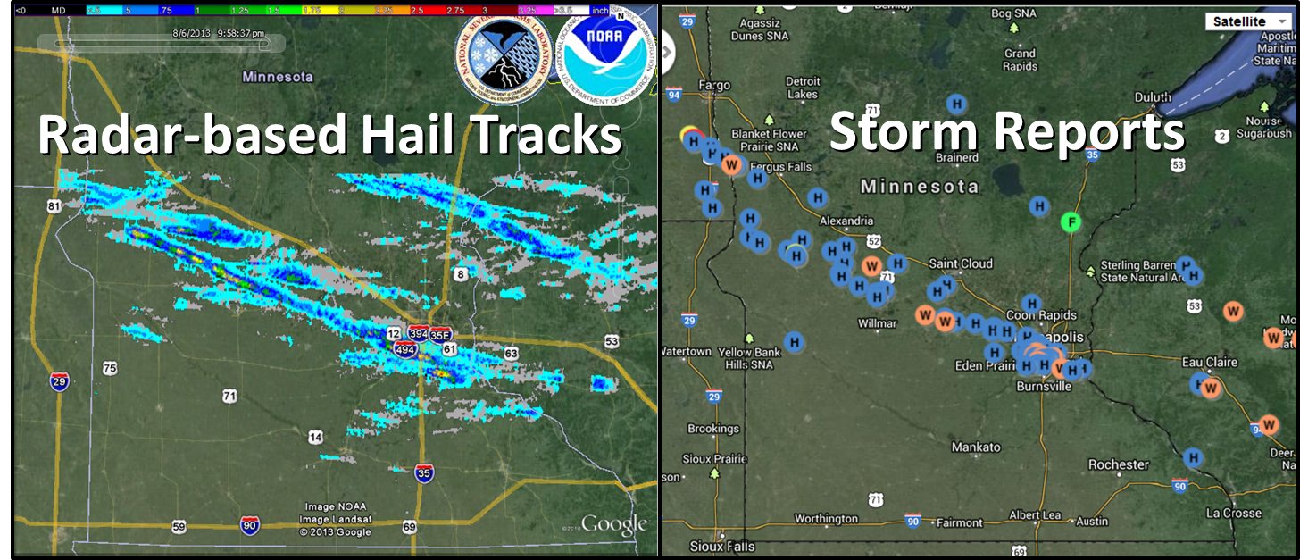 Radar and Storm Reports from the August 6, 2013 storm