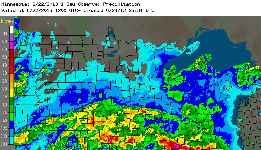 Radar-based precipitation estimates for the 24-hour period ending at 7:00 AM Saturday - June 22, 2013