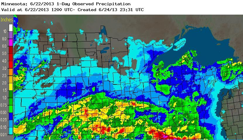 Radar-based precipitation estimates for the 24-hour period ending at 7:00 AM Saturday - June 22, 2013