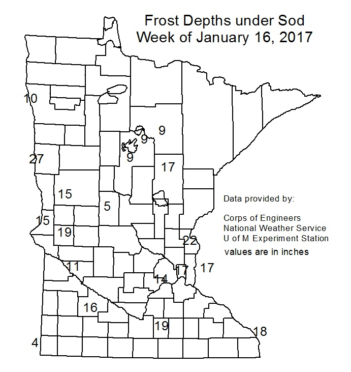 Frost Depth in Minnesota for the week of January 16, 2017