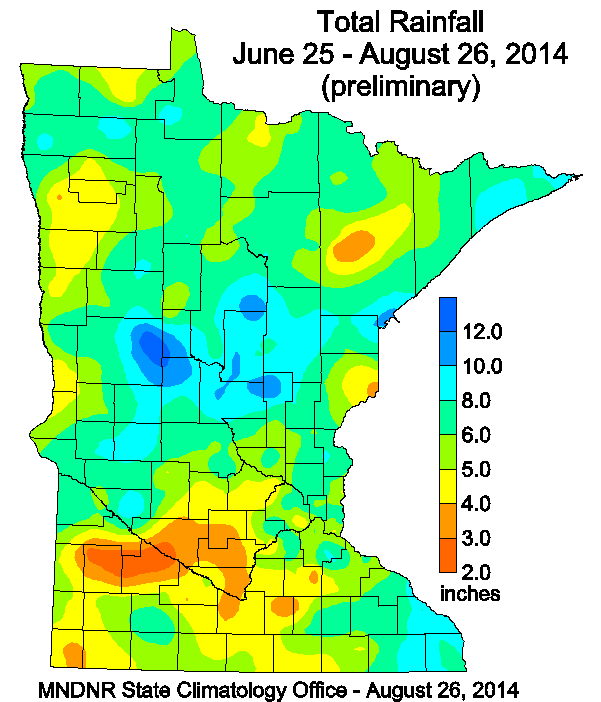 Preliminary rainfall totals for June 25 to August 26 2014