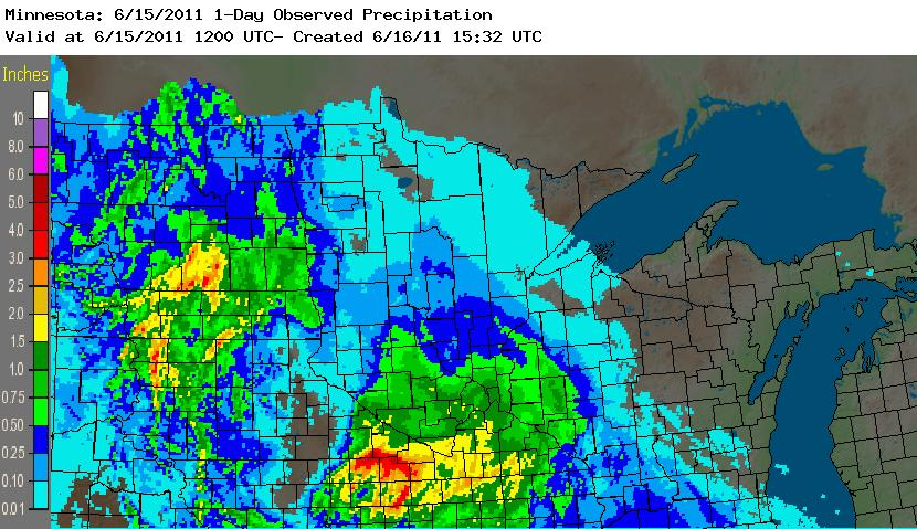 Estimated Precipitation for the 24 hour period ending June 15, 2011