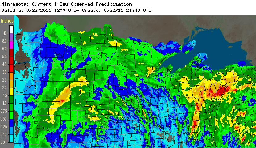 Estimated Precipitation for the 24-hour period ending 7:00am June 22, 2011