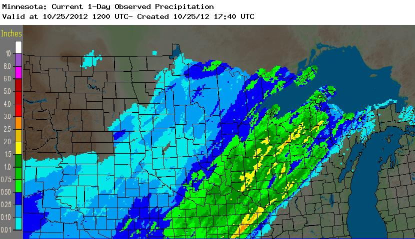Radar-based precipitation estimates for October 25, 2012