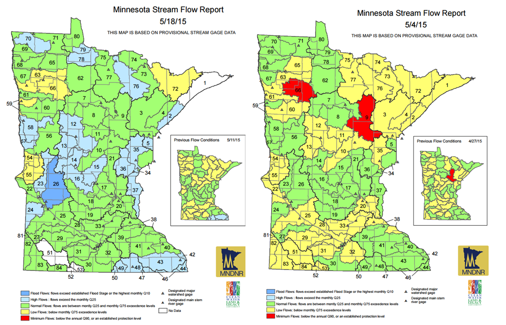 Streamflow Comparison from May 4 to May 18, 2015.