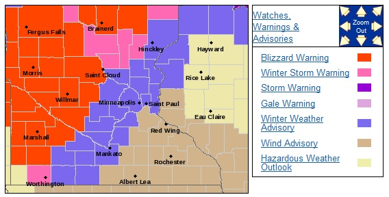 Blizzard, Winter Storm Warnings and Advisories for November 18, 2016<