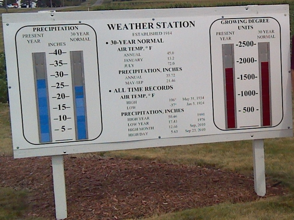 Sign Outside the Waseca Weather Station