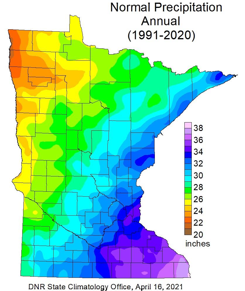 Normal Annual Precipitation 1991-2020
