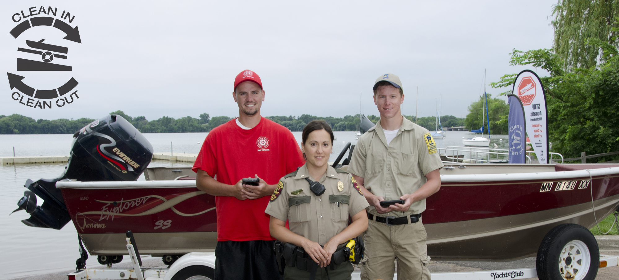 Clean in Clean out - DNR ais staff near a boat launch