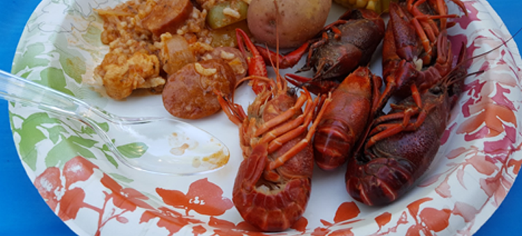 cooked and served crayfish